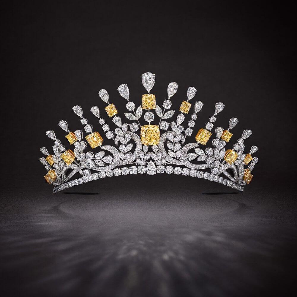 A Graff yellow and white diamond Tiara