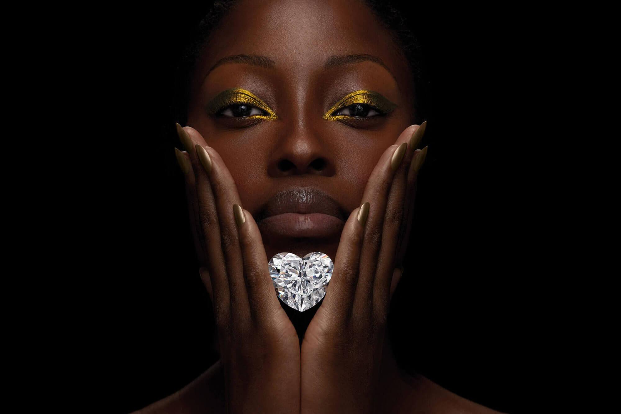 Model holding the famous heart shape Venus diamond by Graff