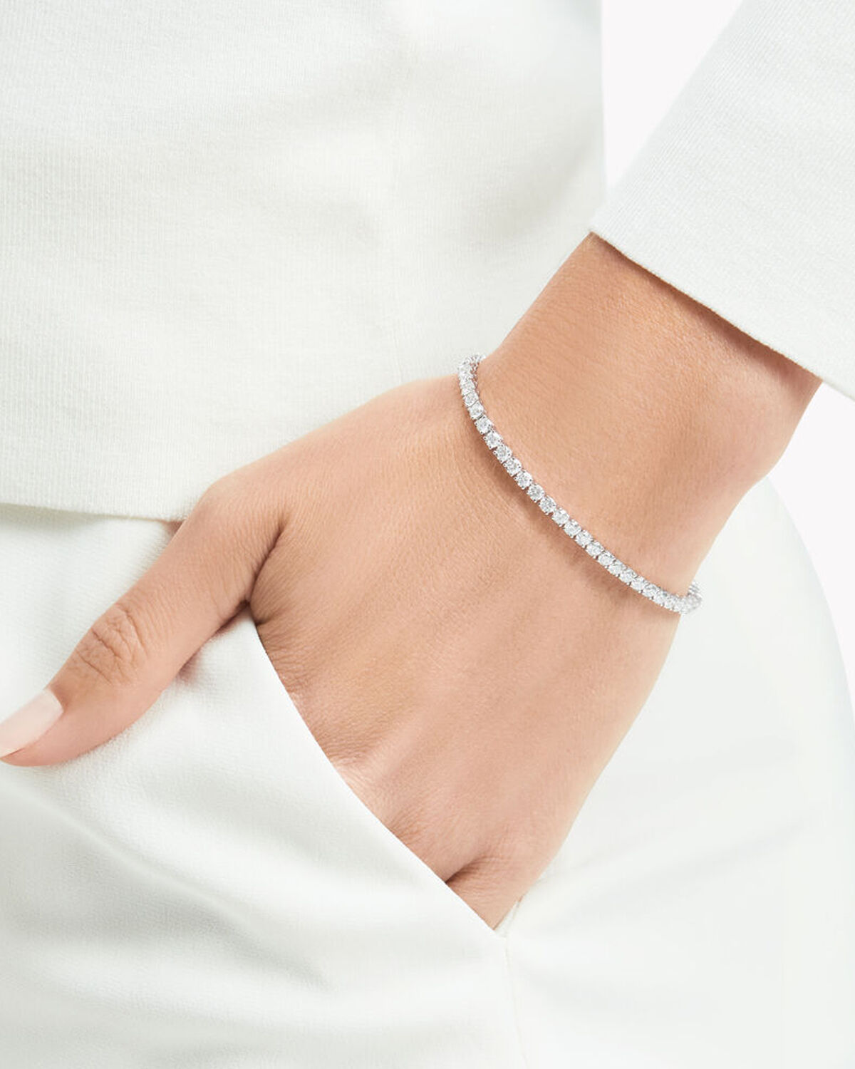 Model wears Graff jewellery collection diamond bracelet