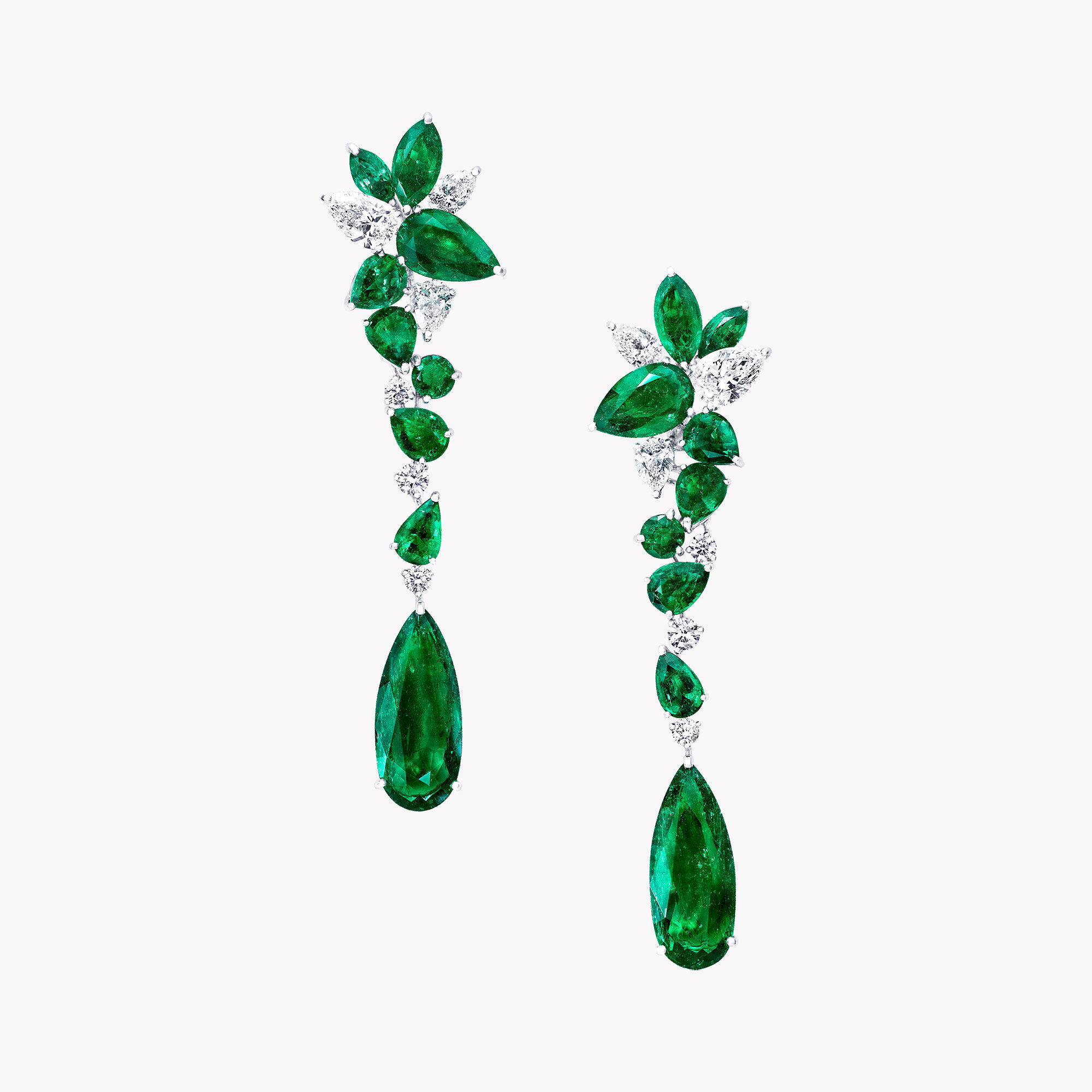 A pair of Graff emerald and white diamond high jewellery earrings