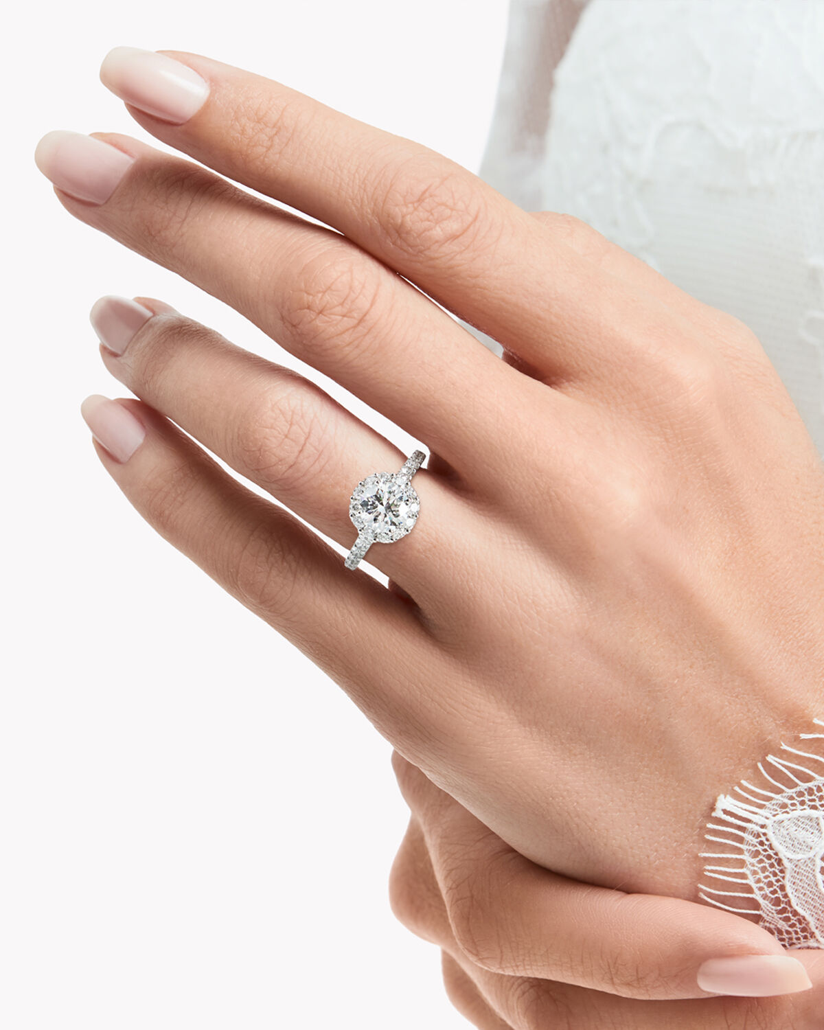 Close up of a model wearing a Graff Icon engagement ring