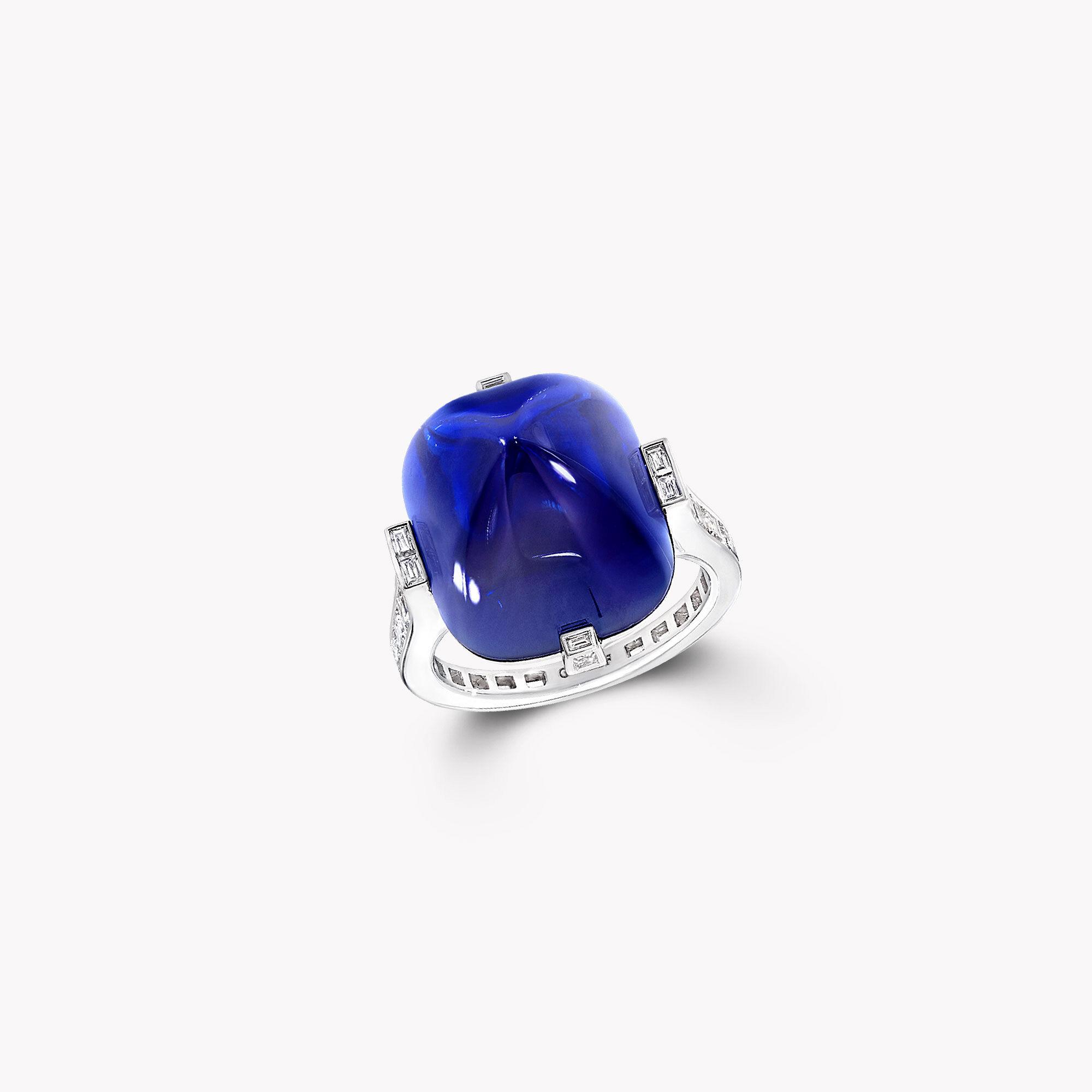 A Graff cabochon Kashmir sapphire and white diamond high jewellery ring