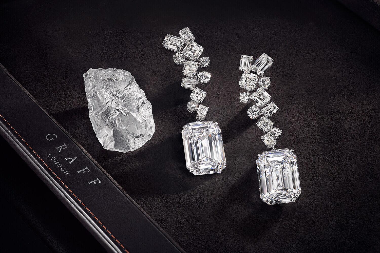 The Graff Eternal Twins - two identical D Flawless emerald cut diamonds weighing 50.23 carats each