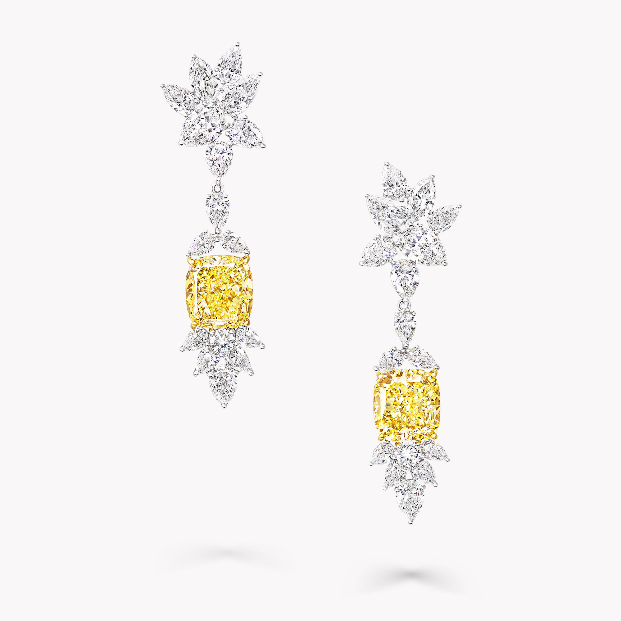 A pair of Graff yellow and white diamond high jewellery earrings