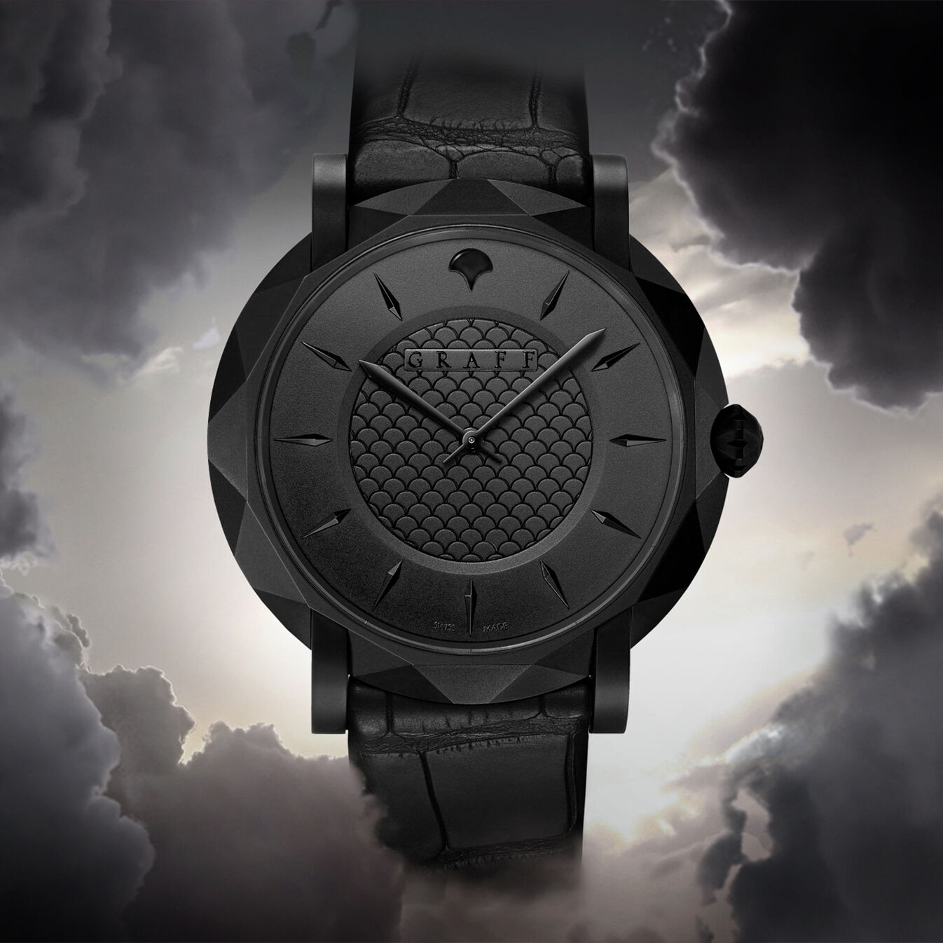 Graff Eclipse watch on a grey cloudy background