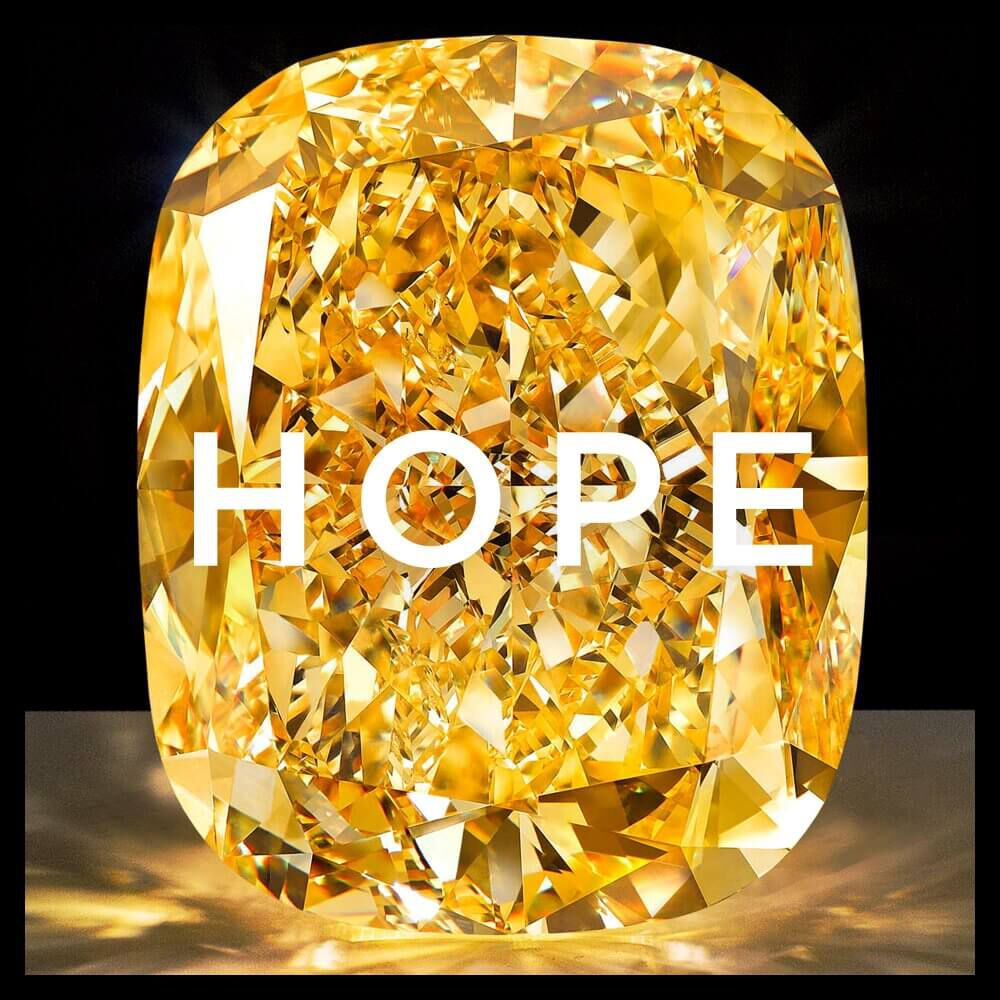 A yellow diamond with HOPE writing