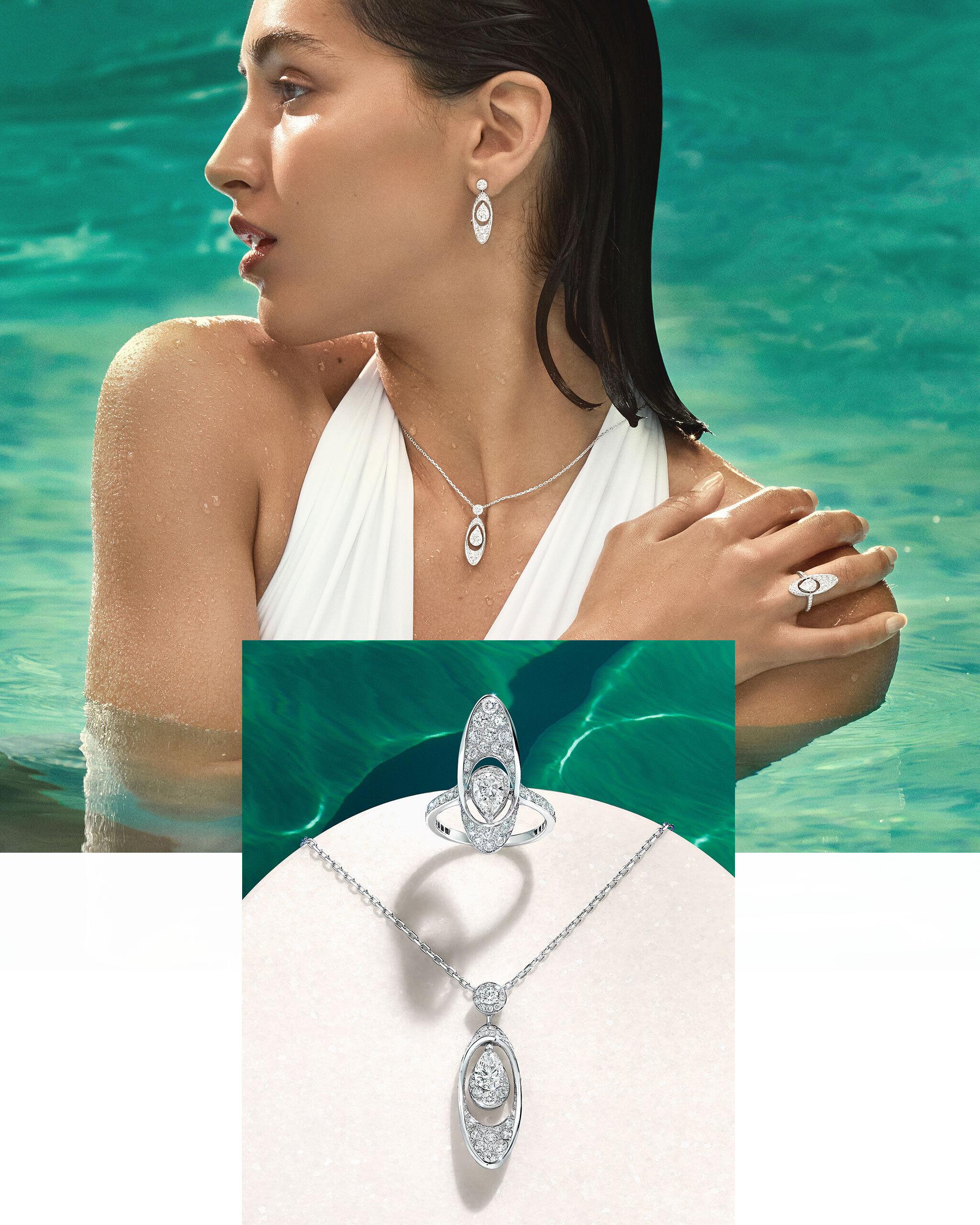 Model wears Graff Tribal collection diamond jewellery in a pool