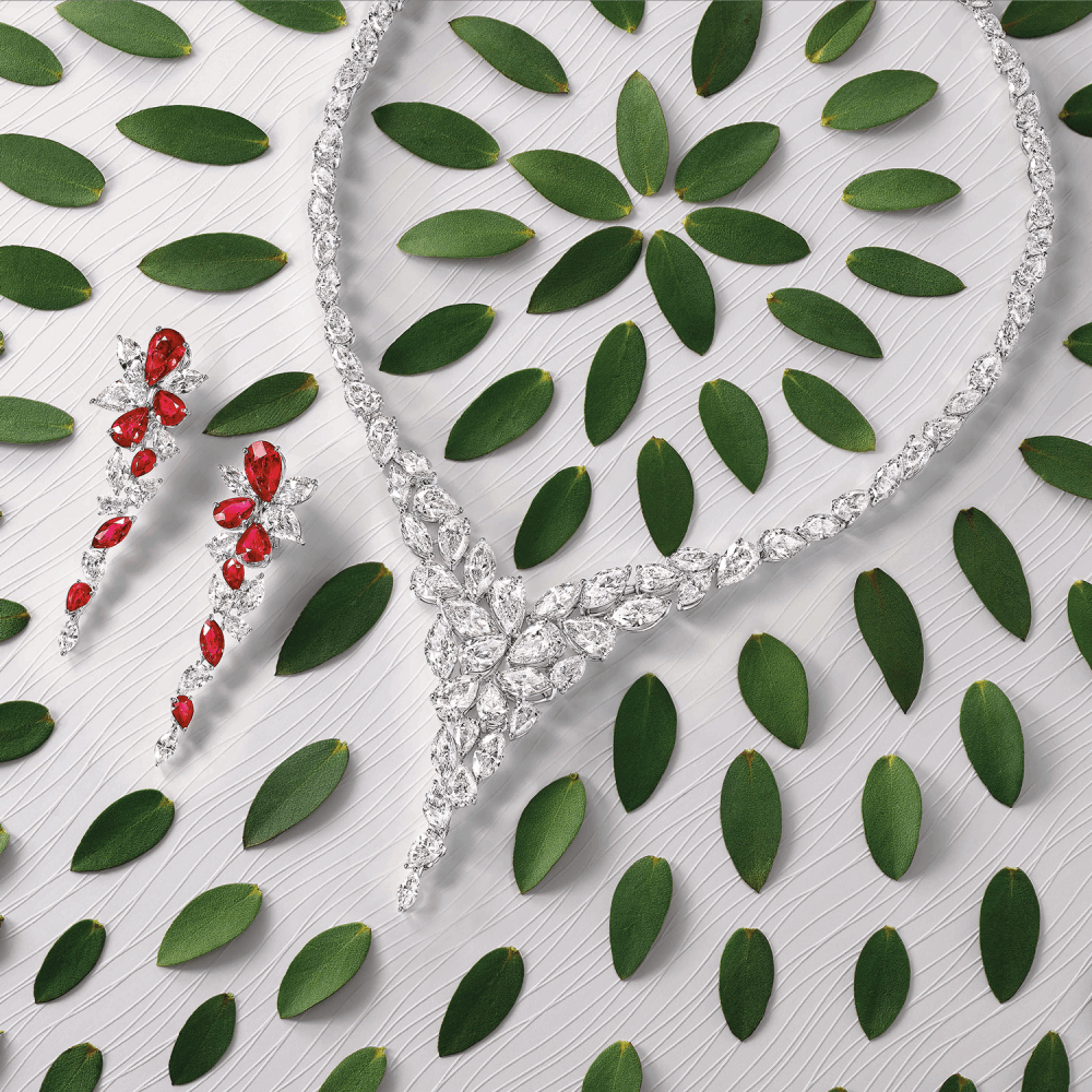 Graff Foliage Collection Ruby and diamond earrings and diamond necklace with leaves