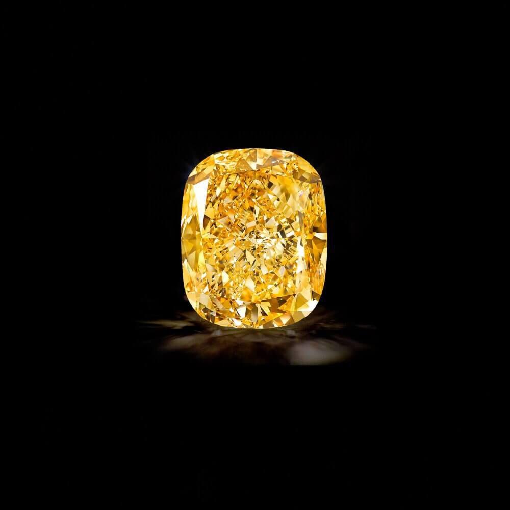 The Graff Golden Empress, a 132.55 carat Fancy Intense Yellow cushion cut diamond