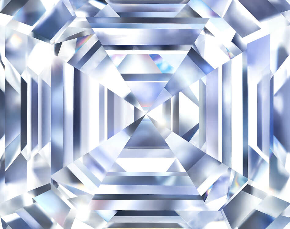 Close up of diamond facets