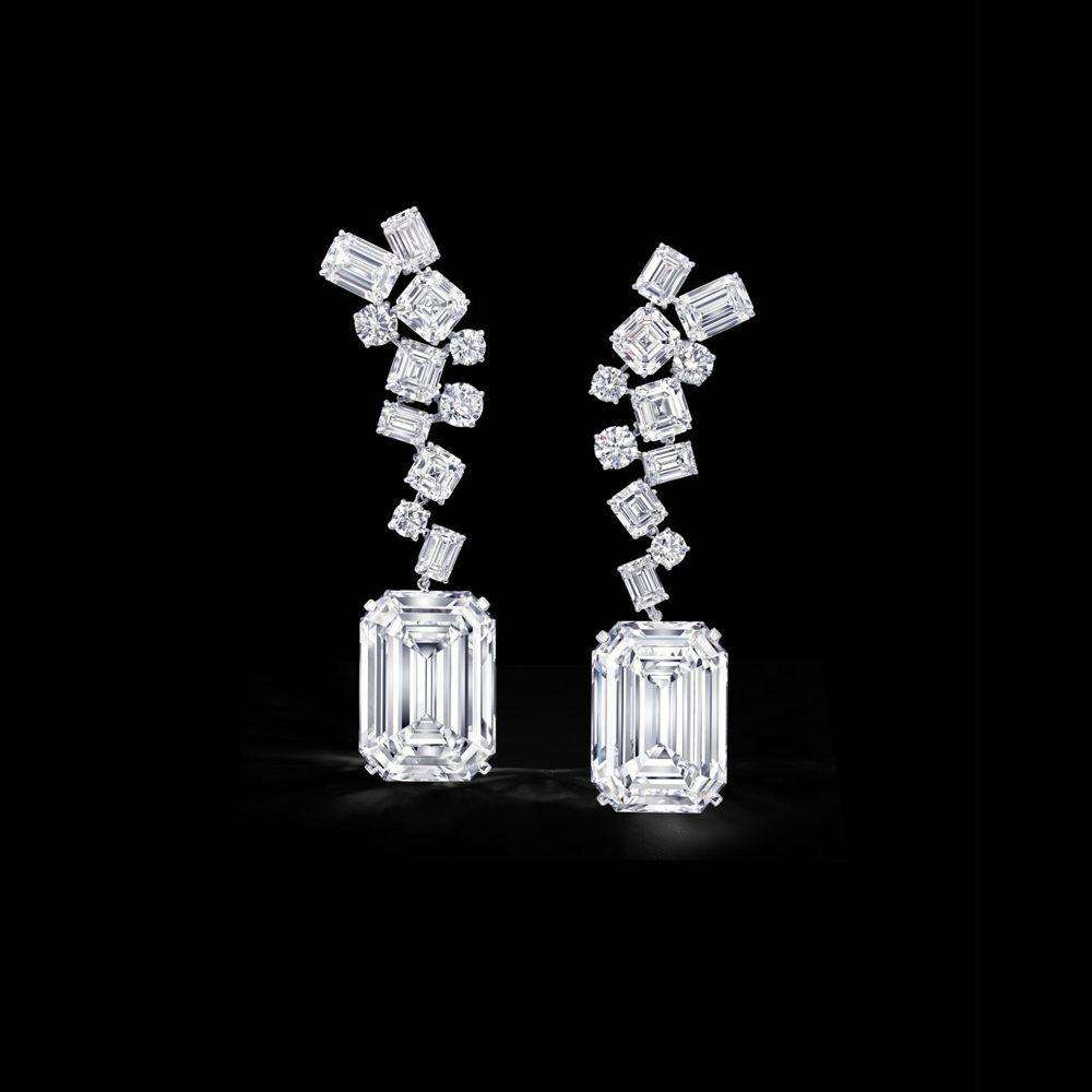Earrings featuring The Eternal Twins, a pair of identical 50 carat D Flawless emerald cut diamonds