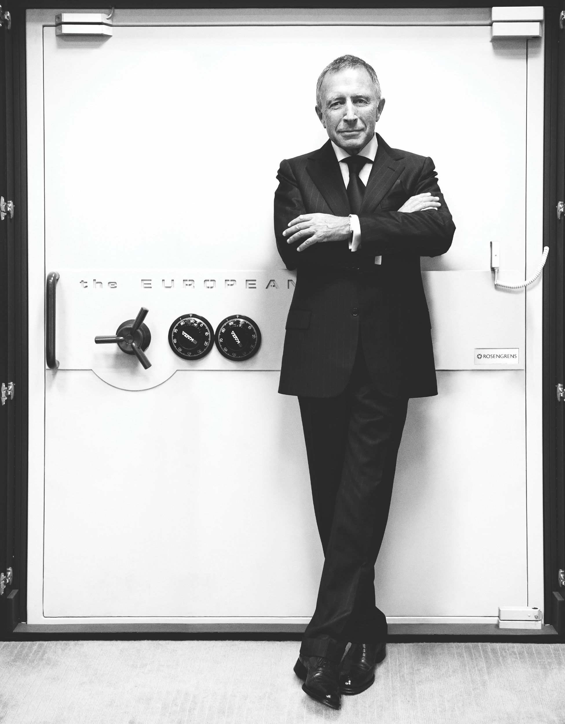 Mr Laurence Graff OBE stands in front of a vault