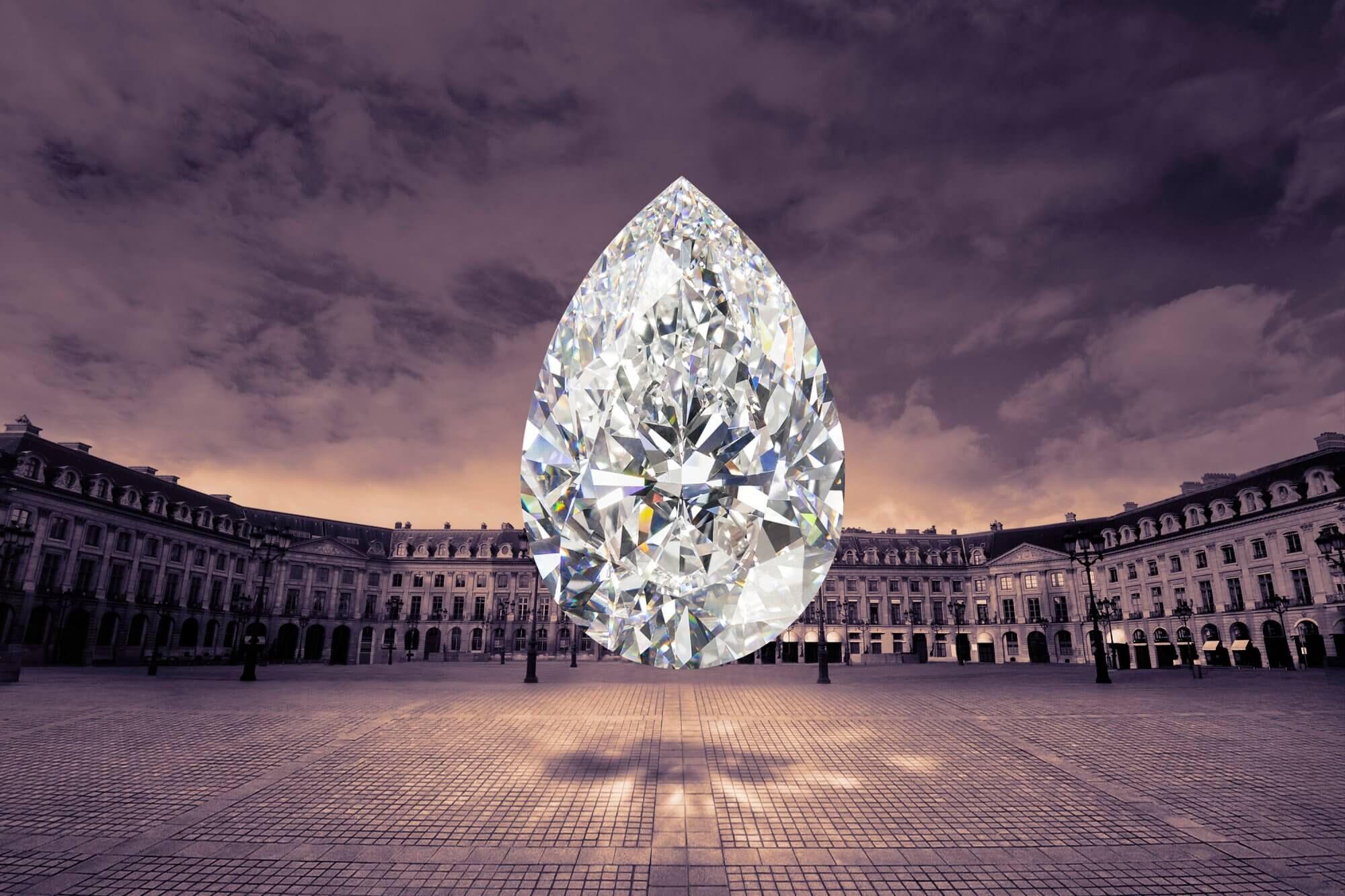 The Graff Vendôme pear shape famous diamond with the Place Vendôme in Paris, France as the background