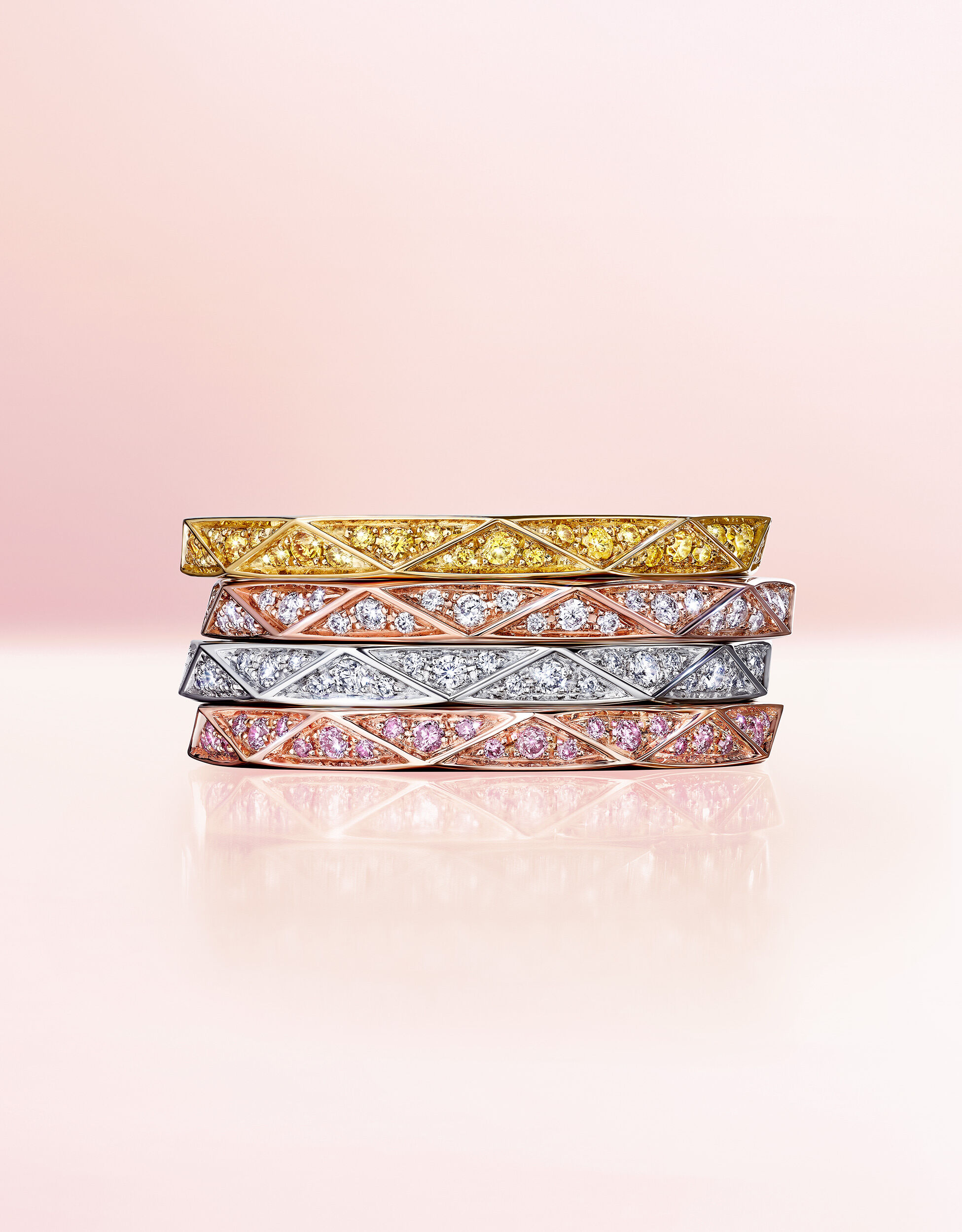 A Stack of Laurence Graff Signature Diamond Bands