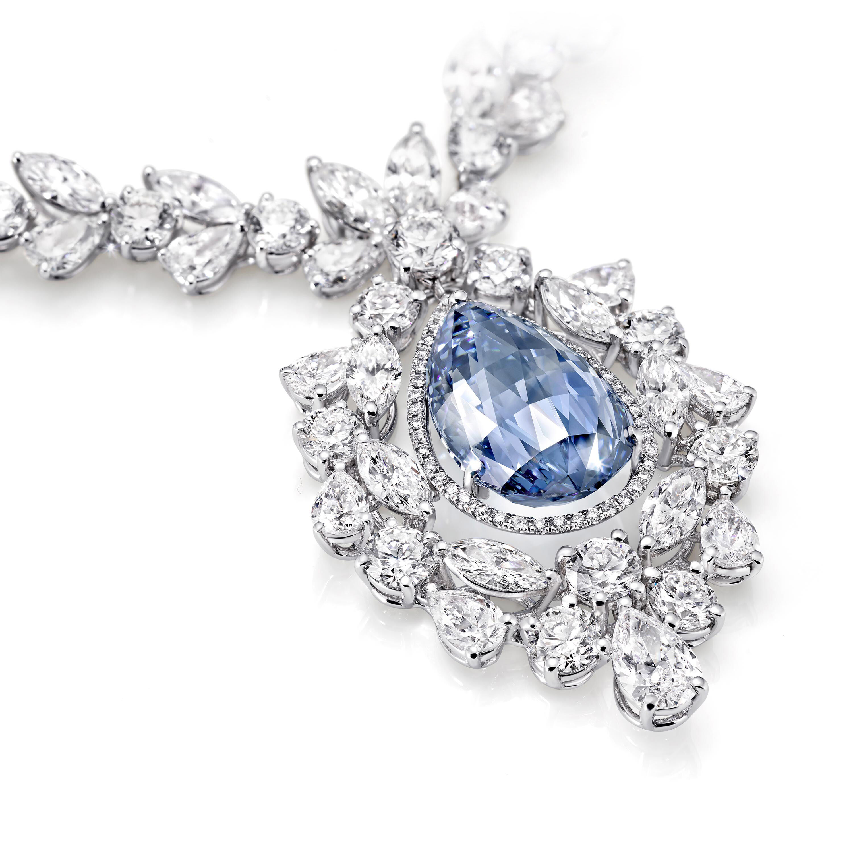 Graff Blue and White diamond necklace
