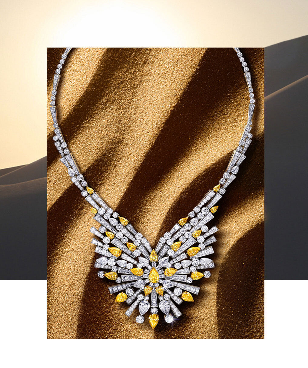 Graff New Dawn Jewellery collection yellow and white diamond high jewellery necklace