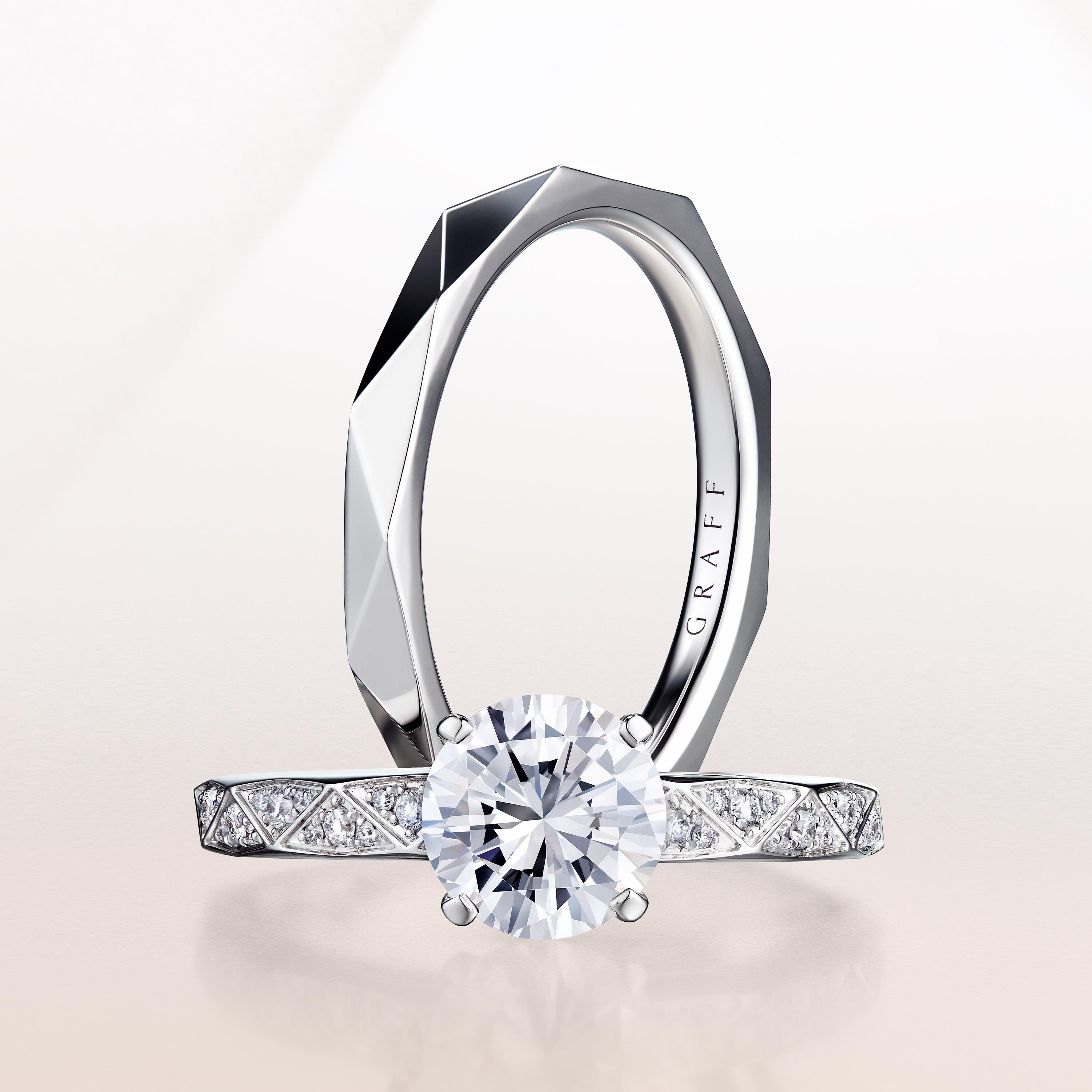 A Laurence Graff Signature wedding band and a diamond engagement ring