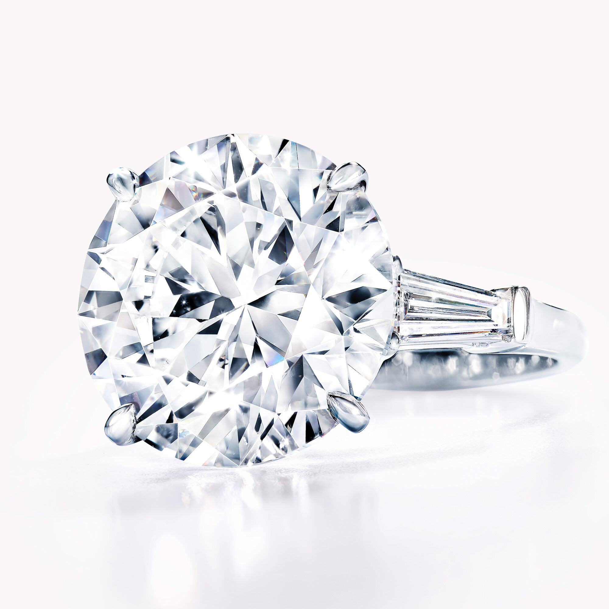 Close up of a Graff round brilliant cut diamond ring