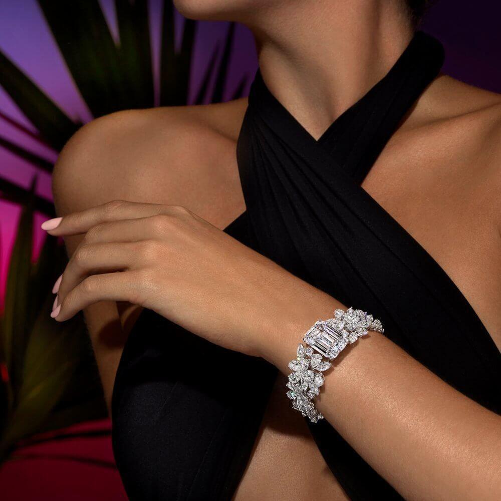 A model wearing a Graff diamond bracelet