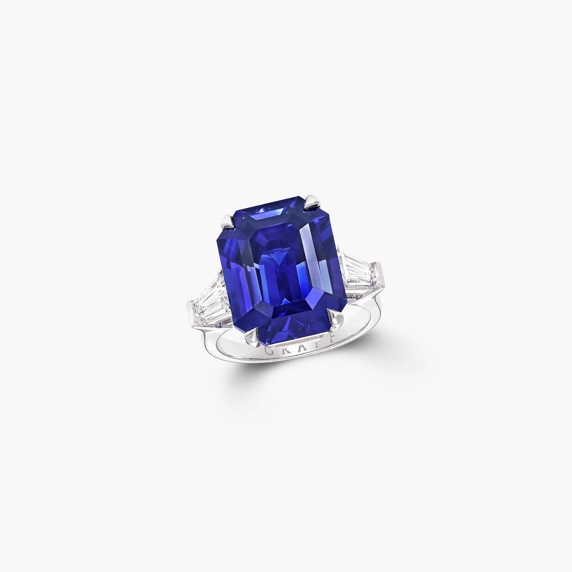 A Graff emerald cut sapphire and white diamond high jewellery ring