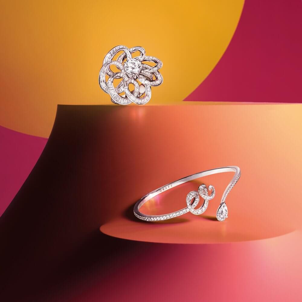 Two Inspired by Twombly Diamond Jewllery by Graff on colourful setting