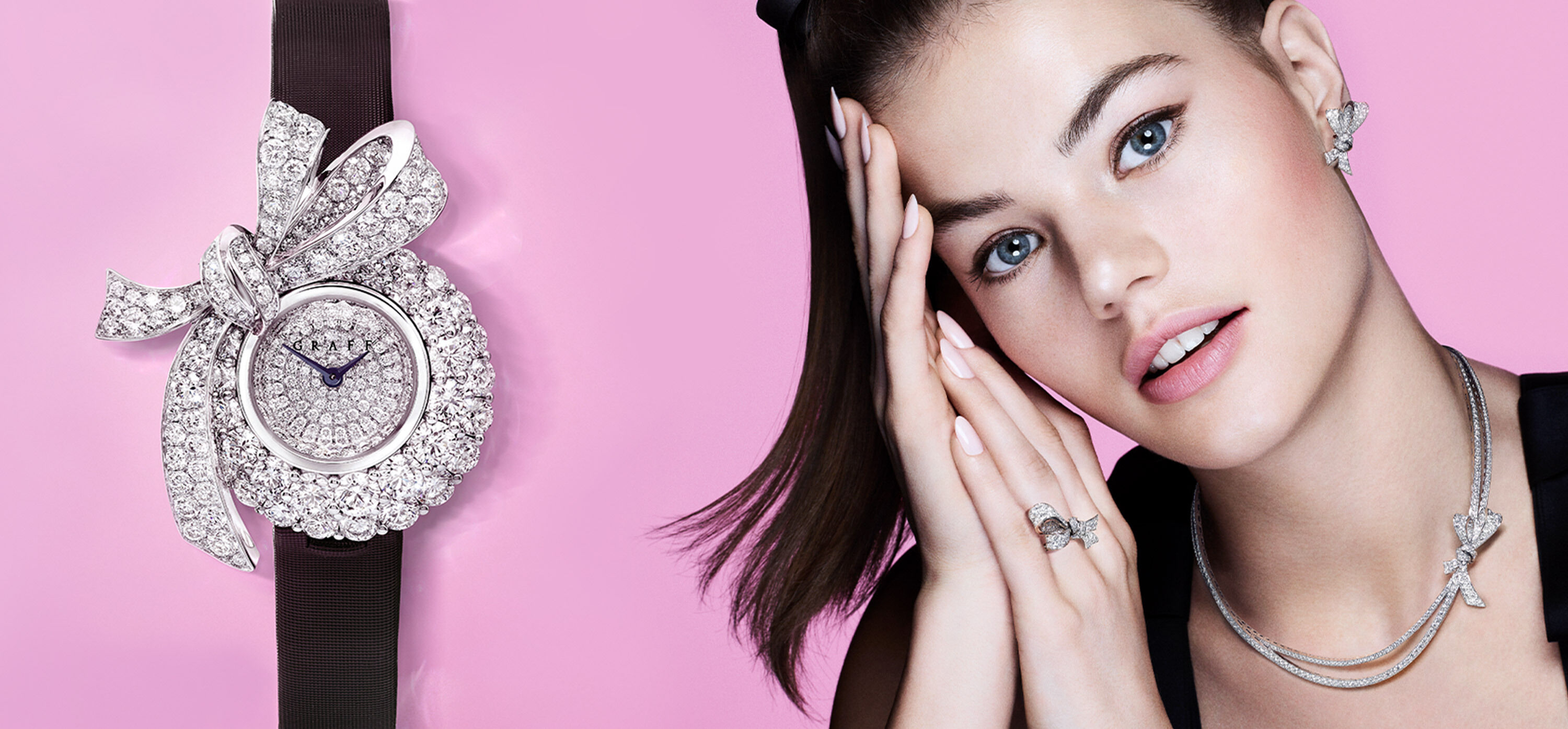 Model wears a Graff spiral collection diamond watch with white mother of pearl dial