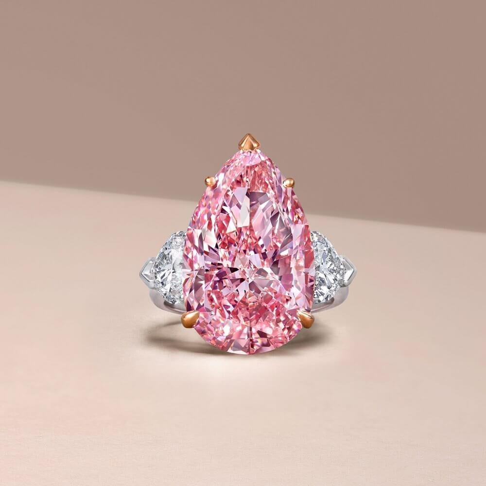 A pear shape pink diamond ring by Graff