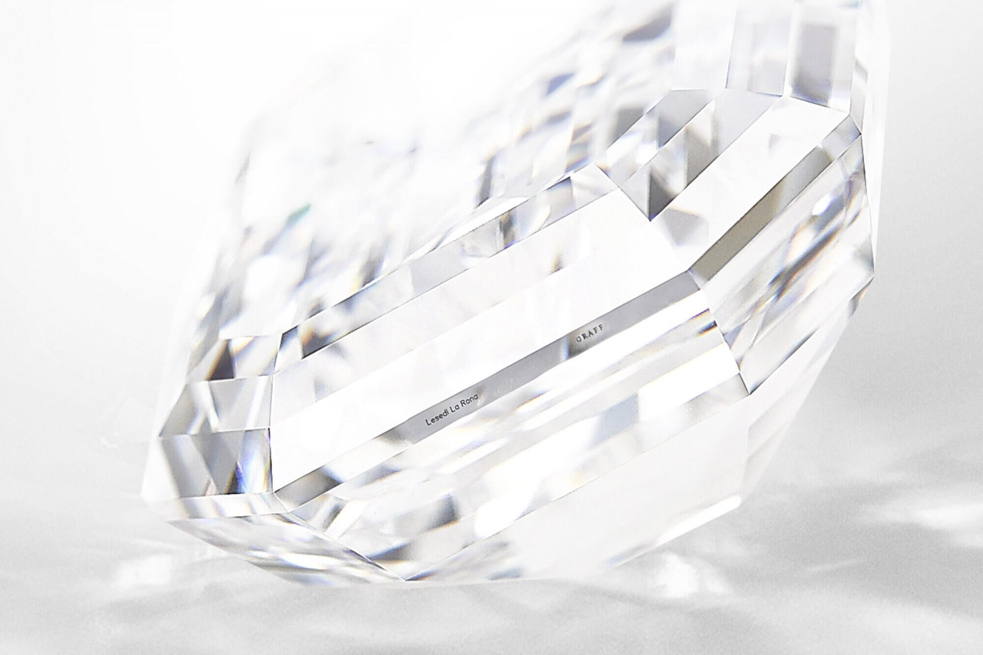 Close up of a Graff Lesedi La Rona satellite diamond showing the Graff and Lesedi La Rona inscription