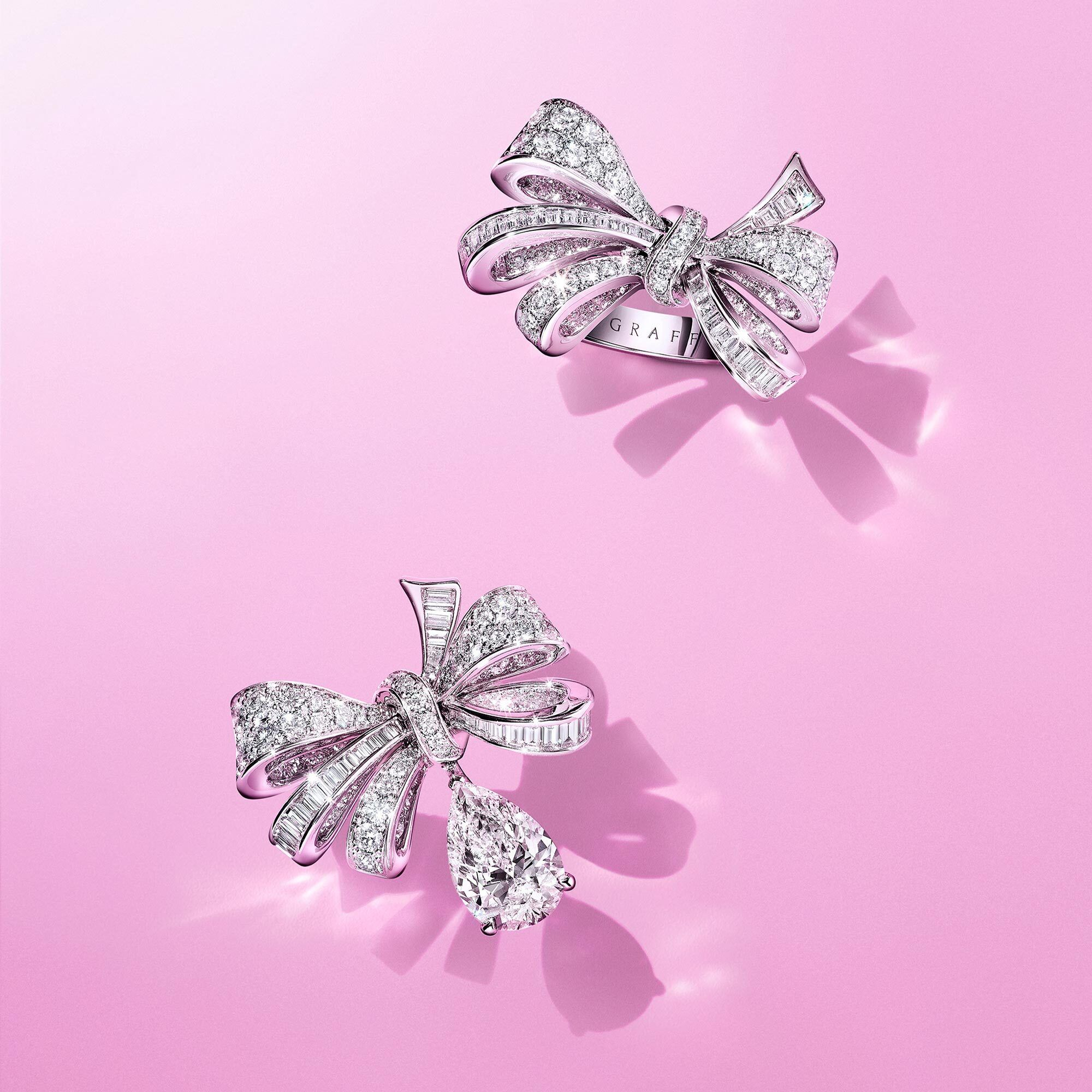 Graff Tilda's Bow rings on pink background