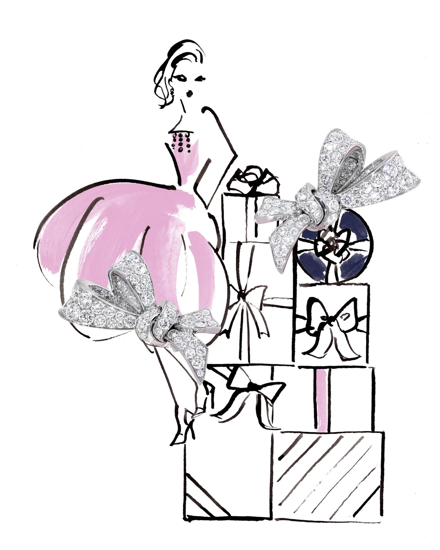 Model wear the Graff Jewellery collection diamond earrings