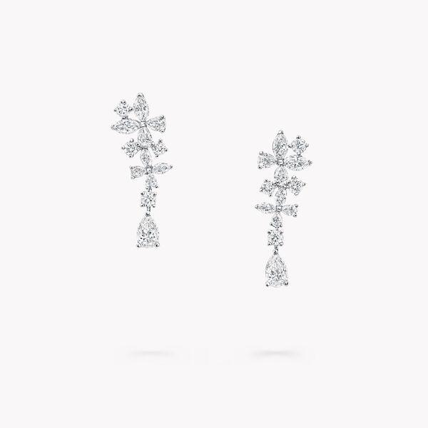经典蝴蝶钻石长耳环, , hi-res