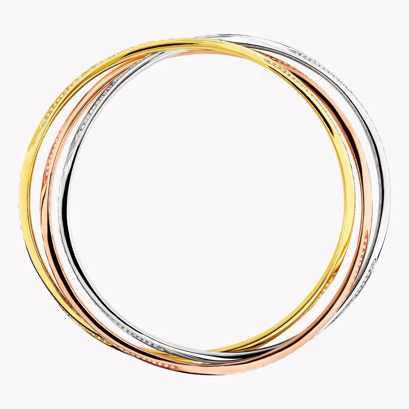 Triple Spiral Pavé Diamond Bangle, , hi-res