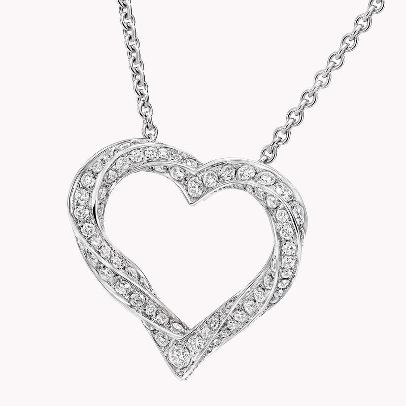 Spiral心形密镶钻石吊坠, , hi-res