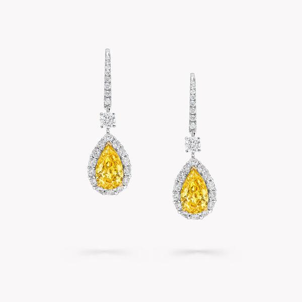 Icon梨形黄钻和白钻耳环, , hi-res