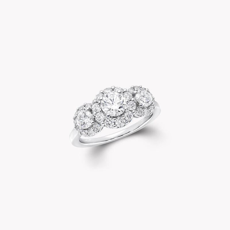 Icon Three Stone Round Diamond Engagement Ring, , hi-res
