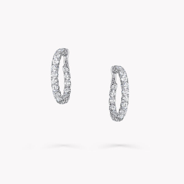 圆形钻石环圈耳环, , hi-res