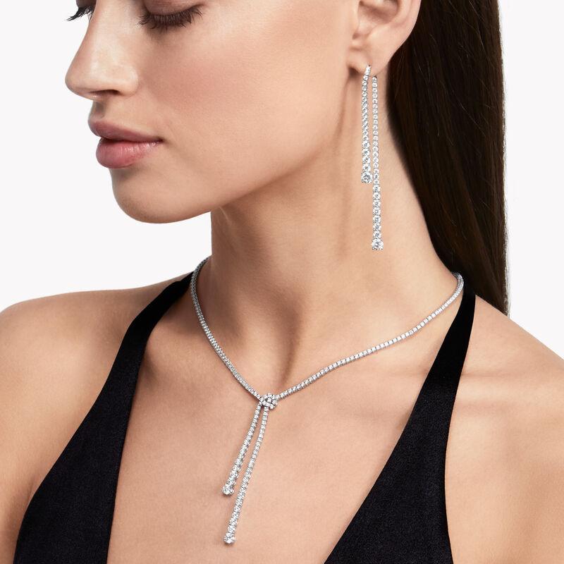 Knot双行钻石项链, , hi-res