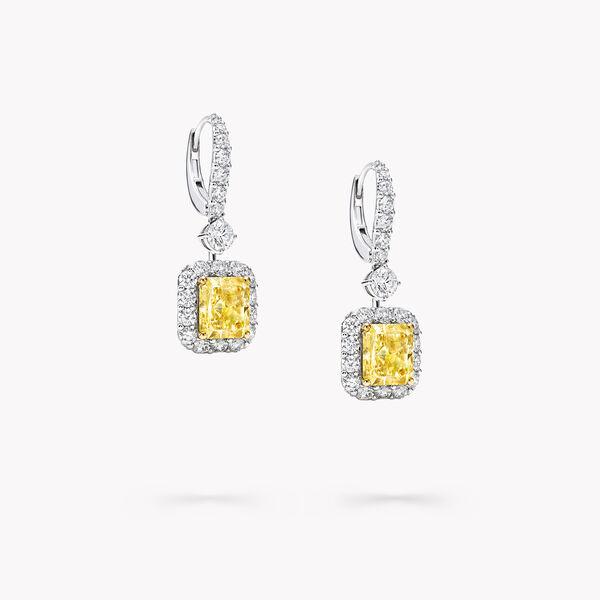Icon雷地恩形切割黄钻和白钻耳环, , hi-res