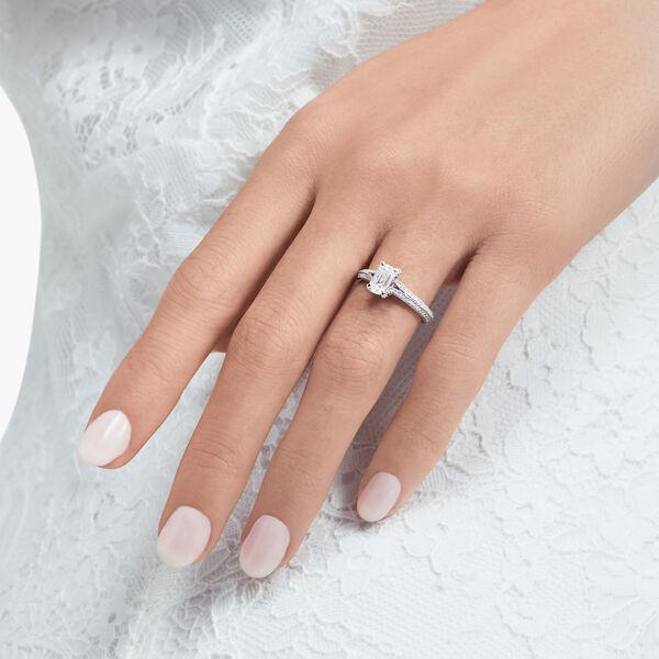 Legacy Emerald Cut Diamond Engagement Ring, , hi-res