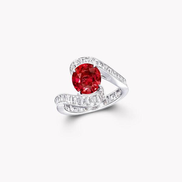 椭圆形红宝石高级珠宝戒指, , hi-res