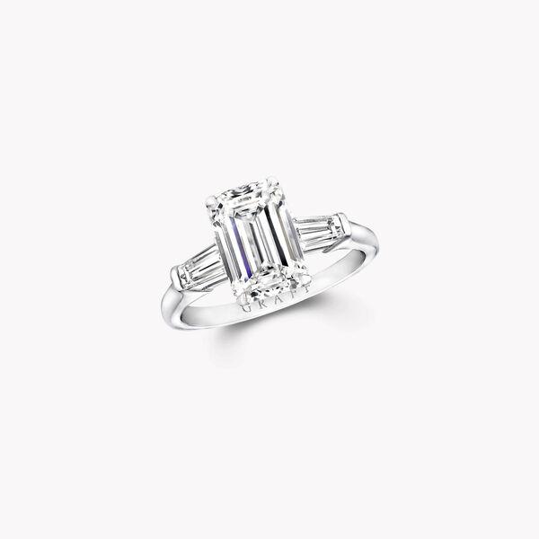 Promise祖母绿形切割钻石订婚戒指, , hi-res