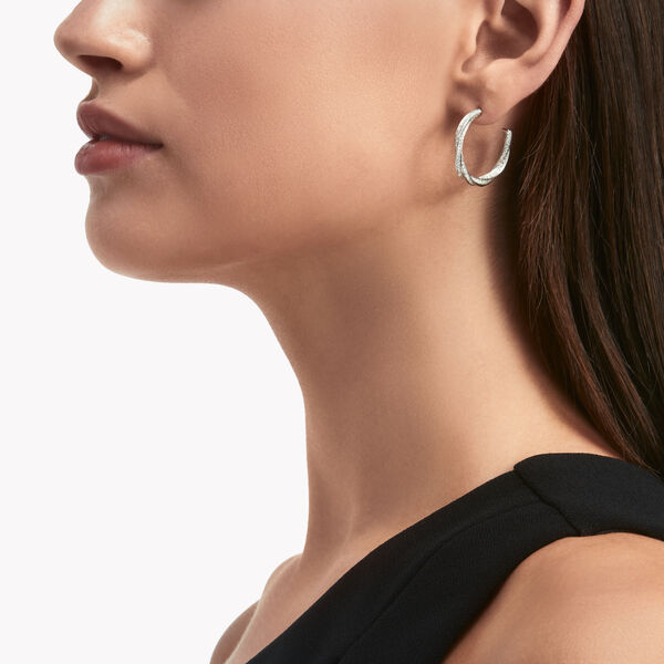 Spiral钻石环圈耳环, , hi-res