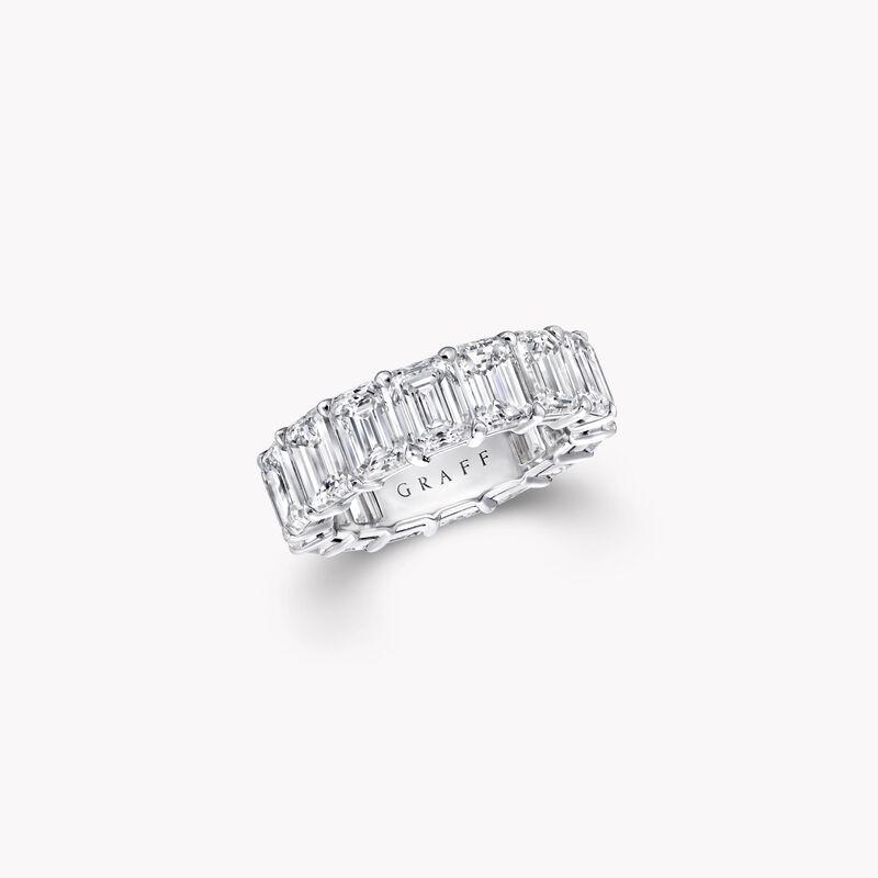 祖母绿形切割钻石婚戒, , hi-res