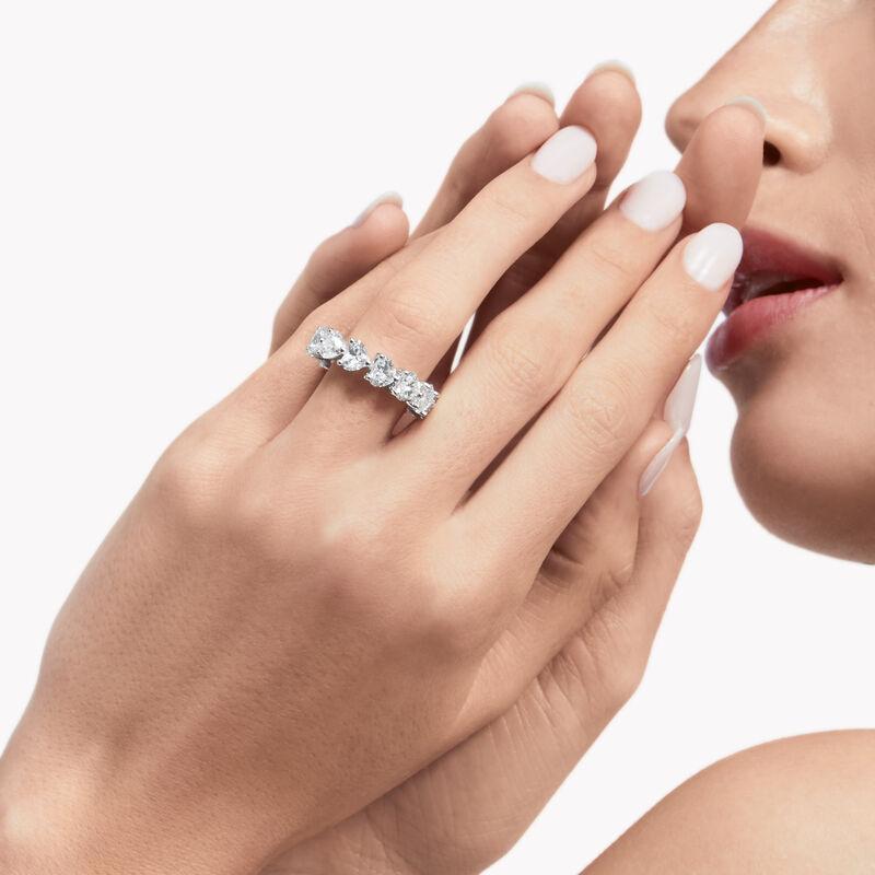 Heart Shape Diamond Wedding Band, , hi-res