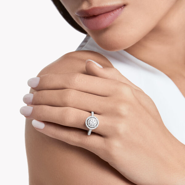 Twin Constellation Round Diamond Engagement Ring, , hi-res