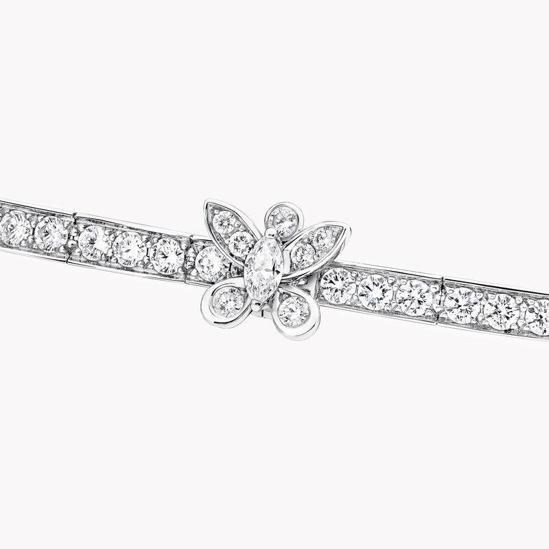 Triple Pavé Butterfly Diamond Necklace, , hi-res