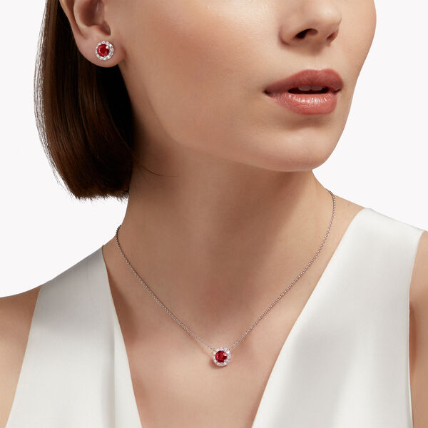 Icon圆形红宝石和钻石耳钉, , hi-res