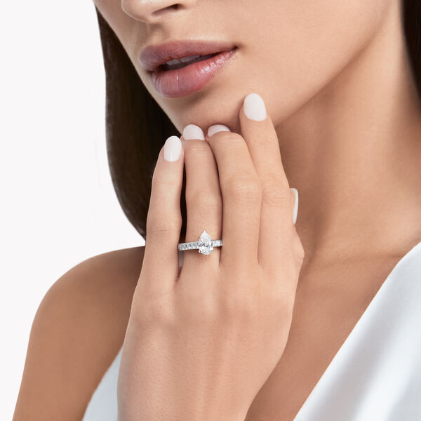 Flame Pear Shape Diamond Engagement Ring, , hi-res