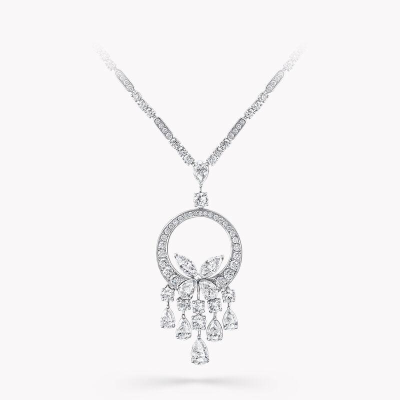 经典蝴蝶钻石长项链, , hi-res