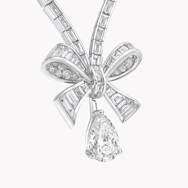 Tilda's Bow Baguette Cut Diamond Drop Necklace, , hi-res